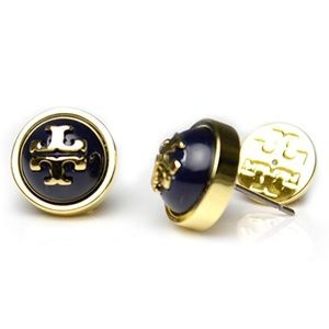 NWT Tory Burch Melodie Black and Gold Earrings